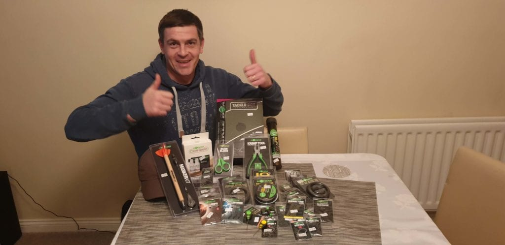 Stephen Jenkins win the big Korda Bundle with Ticket 112 Congratulations Stephen and Happy Carping! ???